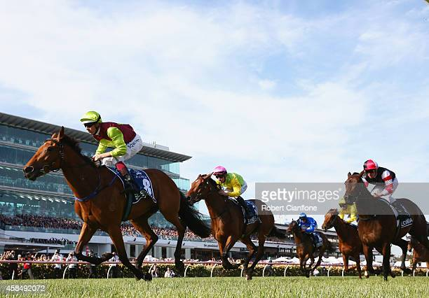 Hugh Bowman rides Set Square to win race eight the Crown Oaks on Oaks Day at Flemington Racecourse on November 6 2014 in Melbourne Australia