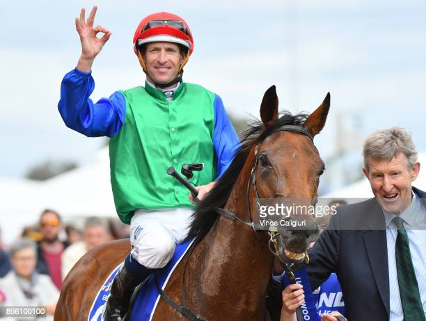 Hugh Bowman riding Bonneval after winning Race 7 Underwood Stakes during Melbourne Racing at Caulfield Racecourse on October 1 2017 in Melbourne...