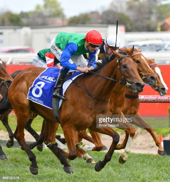 Hugh Bowman riding Bonneval winning in Race 7 Underwood Stakes during Melbourne Racing at Caulfield Racecourse on October 1 2017 in Melbourne...