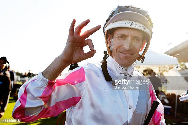Hugh Bowman riding 'Burnt Bridges' celebrates winning race 5 Bledisloe Cup Festival Handicap during Sydney Racing at Canterbury racecourse on July 25...