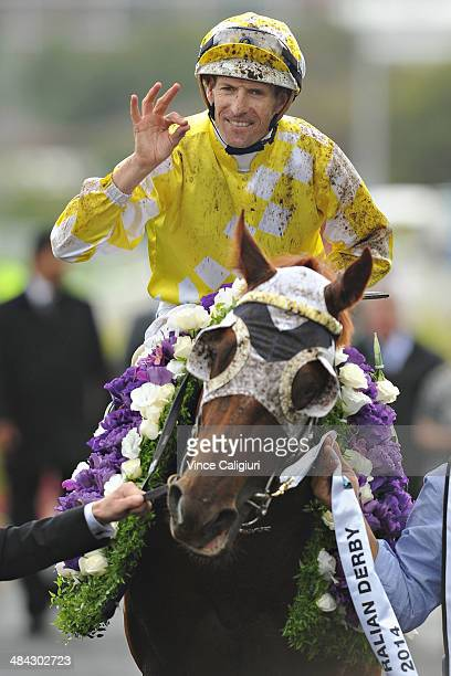 Hugh Bowman riding Criterion celebrates after winning Race 6 the BMW Australian Derby during day one of The Championships at Royal Randwick...