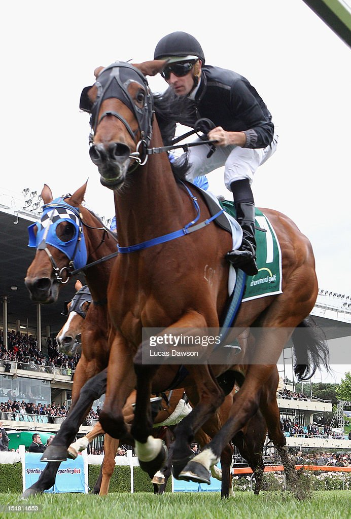 Hugh Bowman riding Mourinho wins Drummond Golf Handicap race during Cox Plate Day at Moonee Valley Racecourse on October 27, 2012 in Melbourne, Australia.