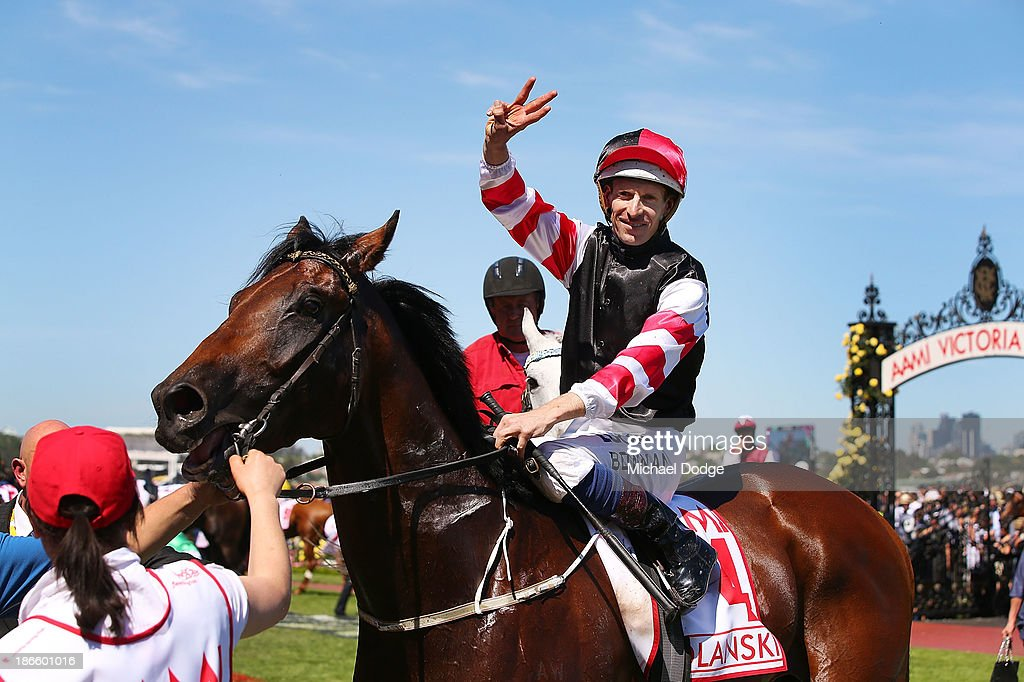 Hugh Bowman riding Polanksi returns to scale after winning race 6 the AAMI Victoria Derbyduring Derby Day at Flemington Racecourse on November 2, 2013 in Melbourne, Australia.