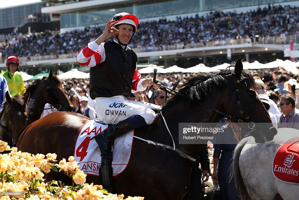Hugh Bowman riding Polanksi returns to scale after winning race 6 the AAMI Victoria Derby, during Derby Day at Flemington Racecourse on November 2, 2013 in Melbourne, Australia.