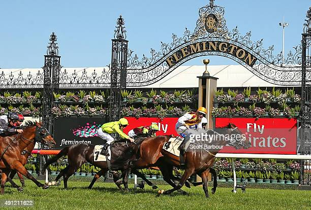Hugh Bowman riding Preferment wins race 7 the Yellowglen Turnbull Stakes during Turnbull Stakes Day at Flemington Racecourse on October 4 2015 in...