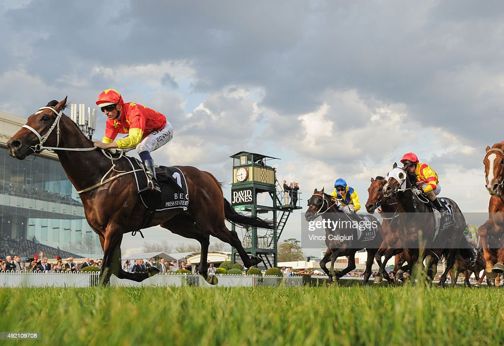 Hugh Bowman riding Press Statement winning Race 9 Beck Caulfield Guineas during Caulfield Guineas Day at Caulfield Racecourse on October 10 2015 in...