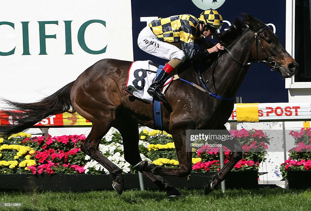 Hugh Bowman riding The Sportsman wins the Cathay Pacific Airways Cup during the 2009 Cox Plate Day meeting at Moonee Valley Racecourse on October 24...