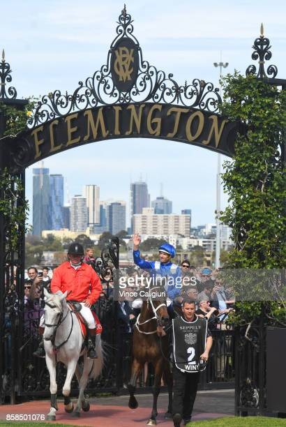 Hugh Bowman riding Winx after winning Race 5 Turnbull Stakes during Turnbull Stakes day at Flemington Racecourse on October 7 2017 in Melbourne...