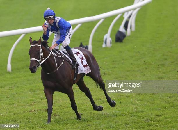 Hugh Bowman riding Winx celebrates winning Race 5 in the China Horse Club George Ryder during 2017 Golden Slipper Day at Rosehill Gardens on March 18...