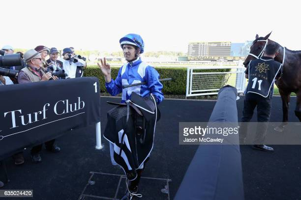 Hugh Bowman riding Winx celebrates winning Race 8 in the Apollo Stakes at Royal Randwick Racecourse on February 13 2017 in Sydney Australia