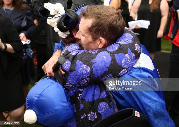 Hugh Bowman riding 'Winx' celebrates with the winning connection after winning Race 5 China Horse Club George Ryder during 2017 Golden Slipper Day at...