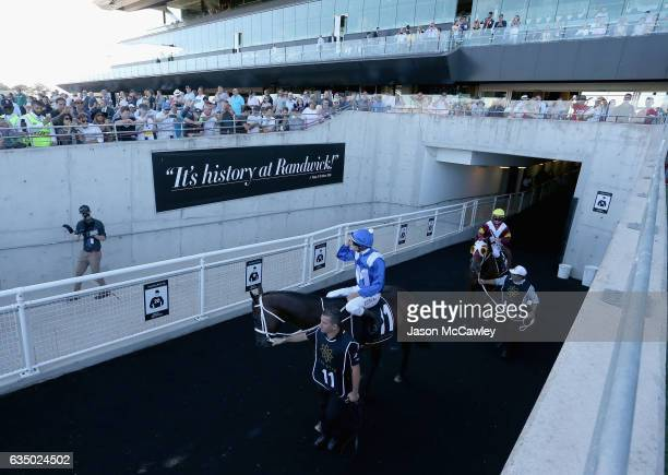 Hugh Bowman riding Winx makes his way onto the track prior to Race 8 in the Apollo Stakes at Royal Randwick Racecourse on February 13 2017 in Sydney...