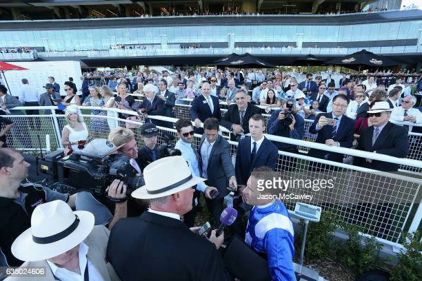 Hugh Bowman riding Winx speaks to the media after winning Race 8 in the Apollo Stakes at Royal Randwick Racecourse on February 13 2017 in Sydney...