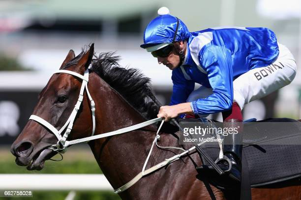 Hugh Bowman riding 'Winx' take part in an exhibition gallop at The Championships Day 1 at Royal Randwick Racecourse on April 1 2017 in Sydney...