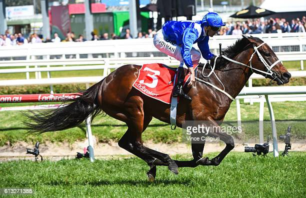 Hugh Bowman riding Winx wins in Race 6 Ladbrokes Caulfield Stakes during Caulfield Guineas Day at Caulfield Racecourse on October 8 2016 in Melbourne...