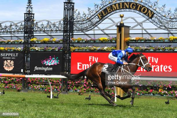 Hugh Bowman riding Winx wins Race 5 Turnbull Stakes during Turnbull Stakes day at Flemington Racecourse on October 7 2017 in Melbourne Australia