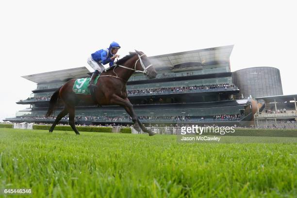 Hugh Bowman riding Winx wins the Chipping Norton Stakes at Royal Randwick Racecourse on February 25 2017 in Sydney Australia