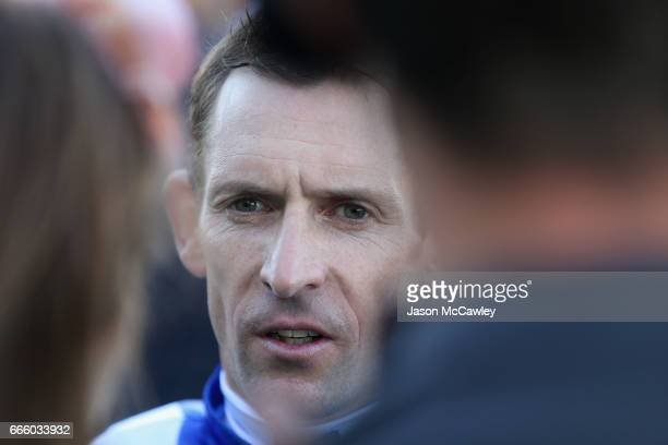 Hugh Bowman speaks to the media after riding 'Winx' to victory in The Longines Queen Elizabeth Stakes during The Championships Day 2 at Royal...