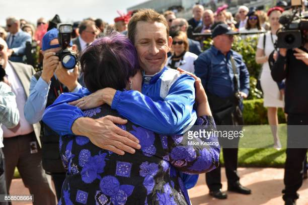 Hugh Bowman with owner Debbie Kepitis after Winx won the Seppelt Turnbull Stakes at Flemington Racecourse on October 07 2017 in Flemington Australia