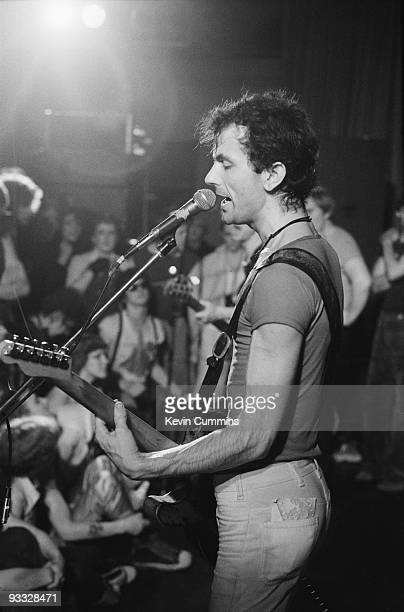 Hugh Cornwell singer and guitarist with the Stranglers performs on stage at the Top Rank in Sheffield on June 12 1977