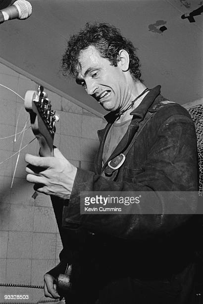 Hugh Cornwell singer and guitarist with the Stranglers performs on stage at the Electric Circus in Manchester on June 05 1977