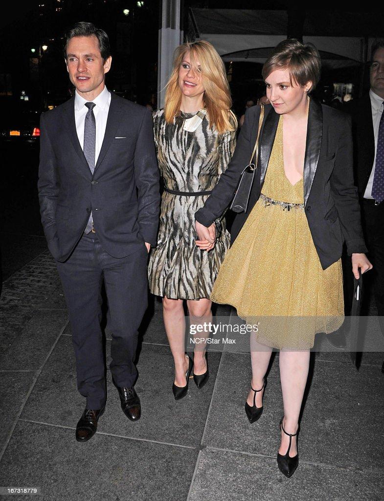 Hugh Dancy, Claire Danes and Lena Dunham as seen on April 23, 2013 in New York City.