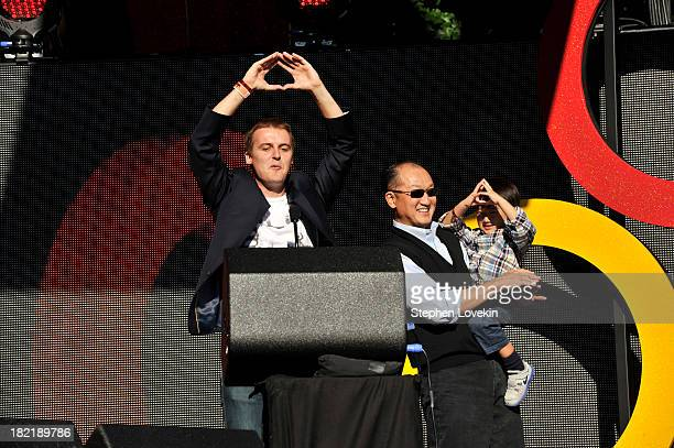 Hugh Evans and President of World Bank Jim Yong Kim appear at the 2013 Global Citizen Festival in Central Park to end extreme poverty on September 28...