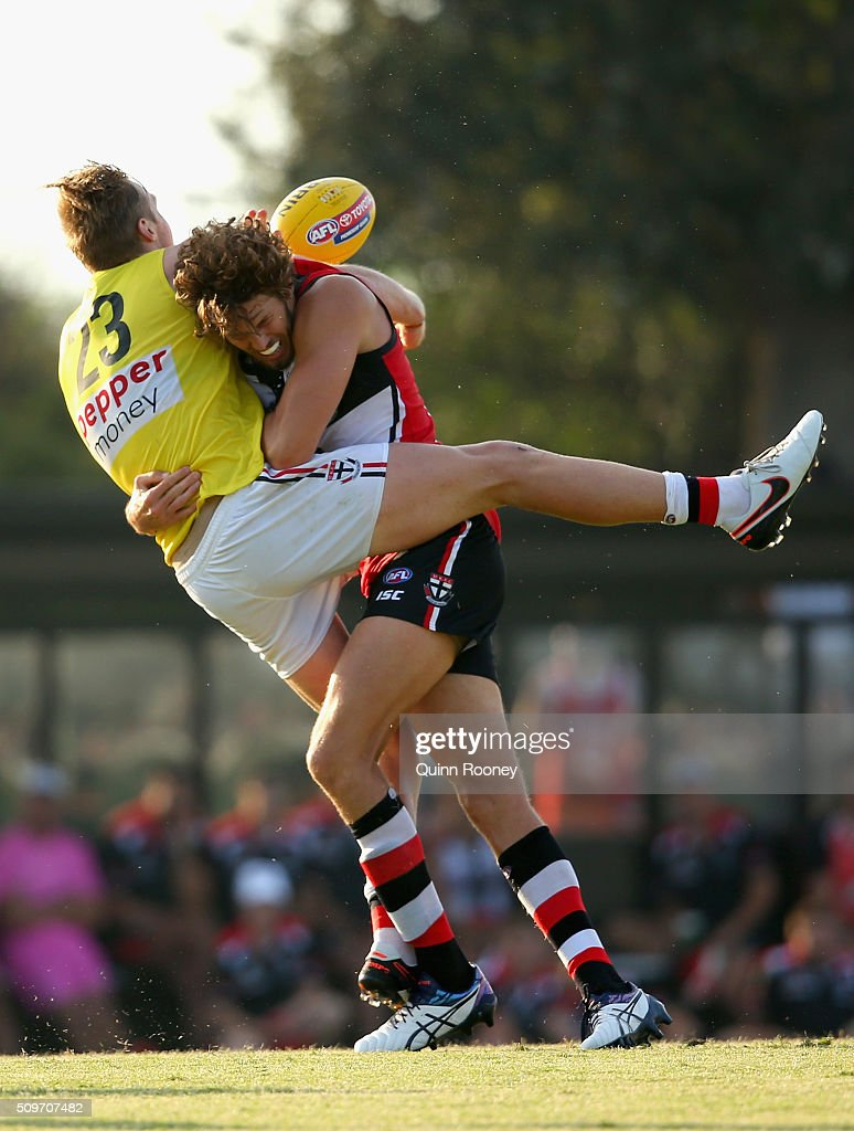 Hugh Goddard of the Saints is tackled by Tom Hickey during the St Kilda Saints AFL Intra-Club Match at Trevor Barker Beach Oval on February 12, 2016 in Melbourne, Australia.