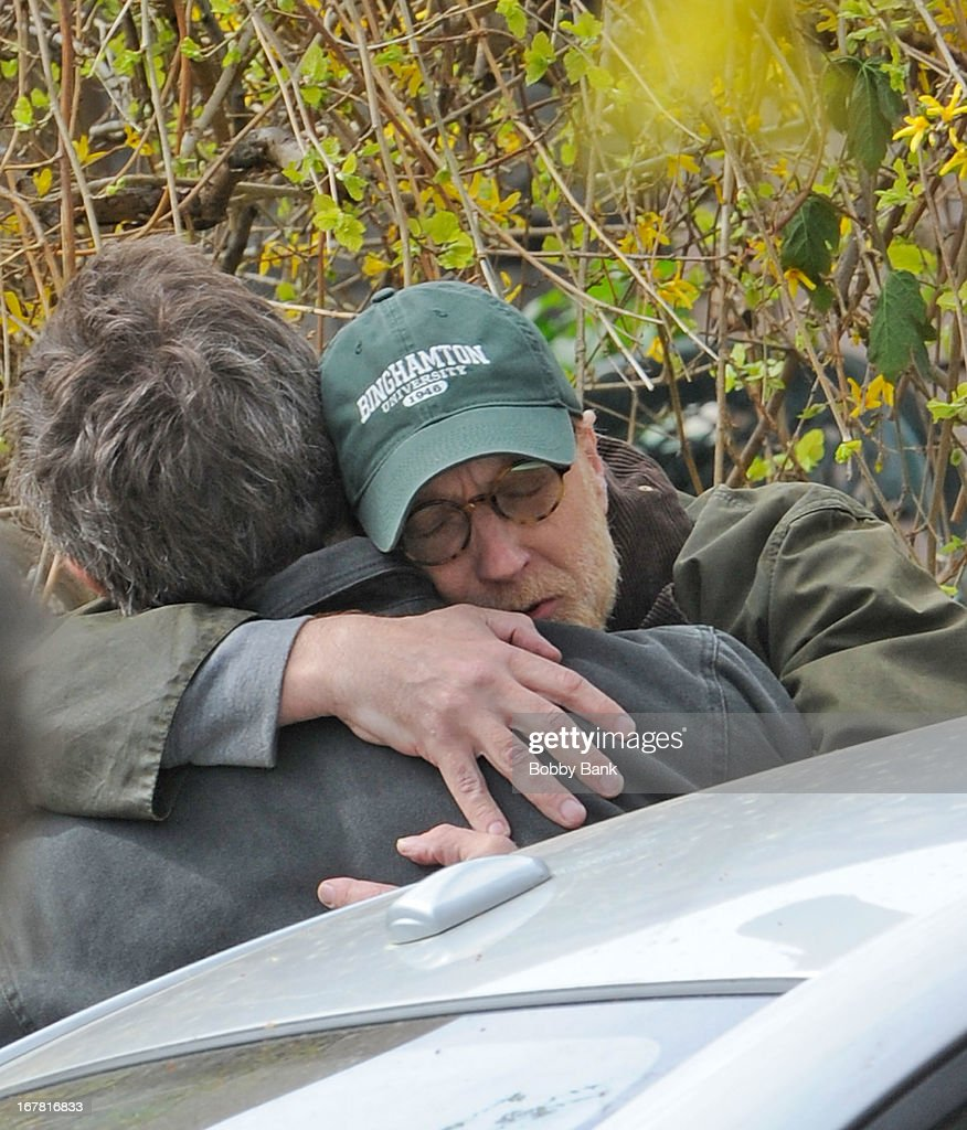 Hugh Grant and Chris Elliott filming on location for 'Untitled Marc Lawrence Project' on April 30, 2013 in the Brooklyn borough of New York City.