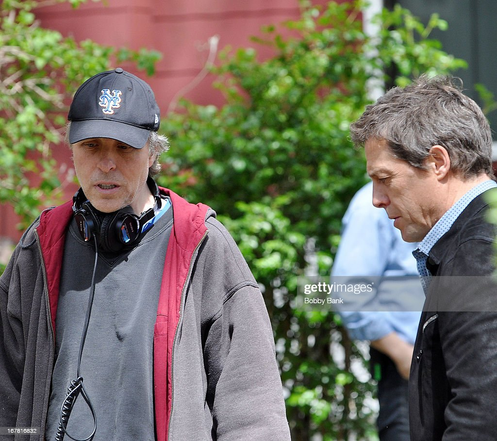 Hugh Grant and director <a gi-track='captionPersonalityLinkClicked' href=/galleries/search?phrase=Marc+Lawrence&family=editorial&specificpeople=1393015 ng-click='$event.stopPropagation()'>Marc Lawrence</a> filming on location for 'Untitled <a gi-track='captionPersonalityLinkClicked' href=/galleries/search?phrase=Marc+Lawrence&family=editorial&specificpeople=1393015 ng-click='$event.stopPropagation()'>Marc Lawrence</a> Project' on April 30, 2013 in the Brooklyn borough of New York City.