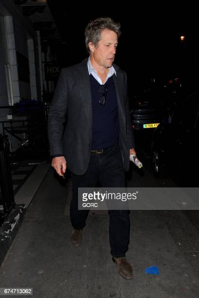 Hugh Grant and his Swedish girlfriend Anna Eberstein seen leaving a restaurant in Mayfair on April 28 2017 in London England