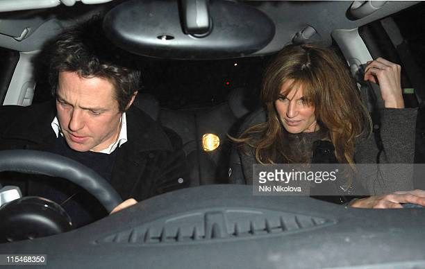 Hugh Grant and Jemima Khan during Hugh Grant and Jemima Khan Sighting at Scotts February 01 2007 at Scotts Restaurant in London Great Britain