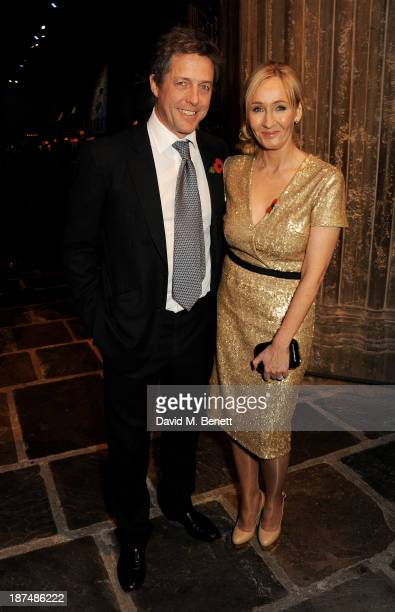 Hugh Grant and JK Rowling attend the Lumos fundraising event hosted by JK Rowling at The Warner Bros Harry Potter Tour on November 9 2013 in London...
