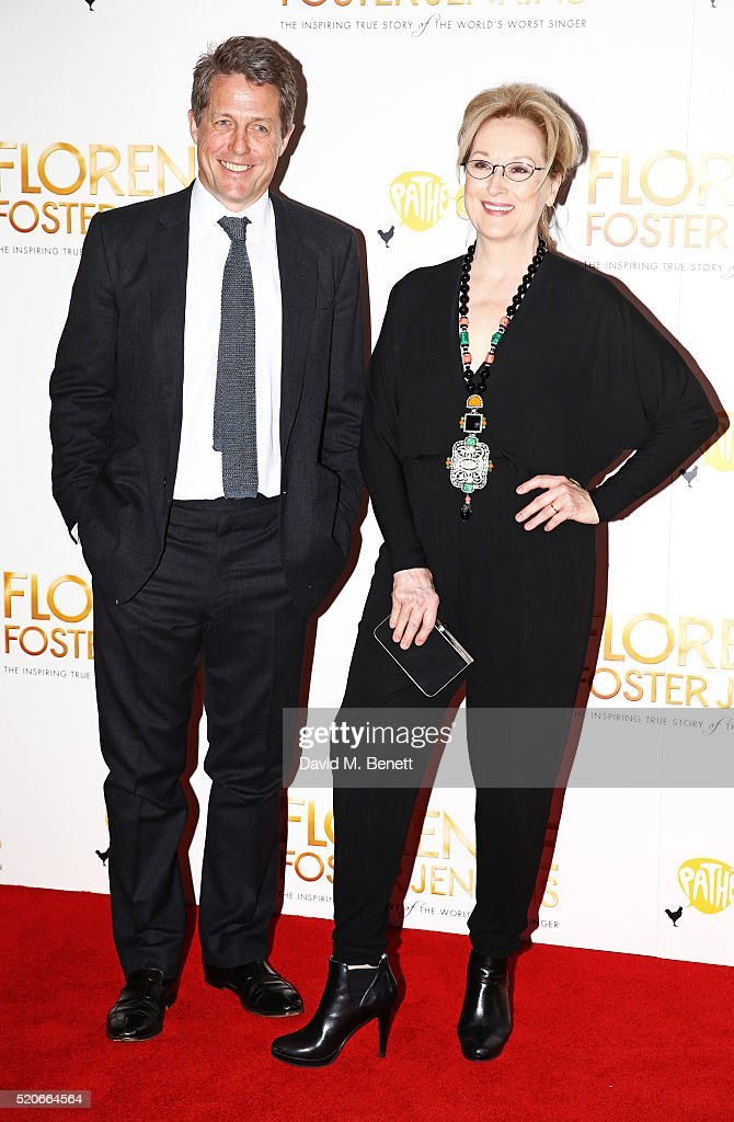 Hugh Grant (L) and Meryl Streep arrive for the UK film premiere Of 'Florence Foster Jenkins' at Odeon Leicester Square on April 12, 2016 in London, England.