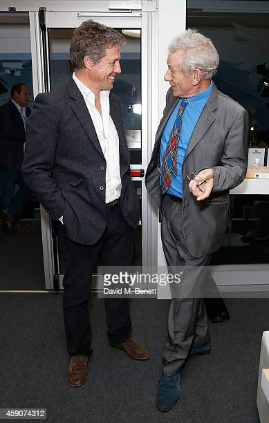 Hugh Grant and Sir Ian McKellen attend the Lacoste VIP Lounge at the ATP World Finals 2014 at O2 Arena on November 16 2014 in London England