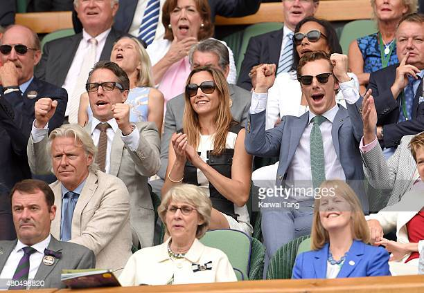 Hugh Grant Anna Eberstein and Benedict Cumberbatch attend day 13 of the Wimbledon Tennis Championships at Wimbledon on July 12 2015 in London England