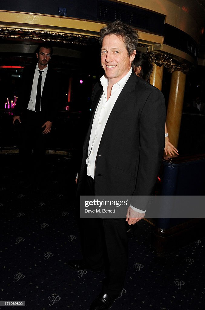 REQUIRED) Hugh Grant attends the Hoping Foundation's 'Rock On' benefit evening for Palestinian refugee children at Cafe de Paris on June 20, 2013 in London, England.