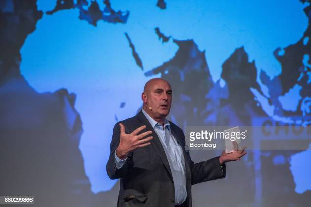Hugh Grant chairman and chief executive officer for Monsanto Co speaks during the Global Agribusiness Forum in Sao Paulo Brazil on Wednesday March 29...