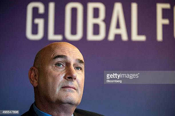 Hugh Grant chairman and chief executive officer of Monsanto Co listens during the 2015 Fortune Global Forum in San Francisco California US on Tuesday...