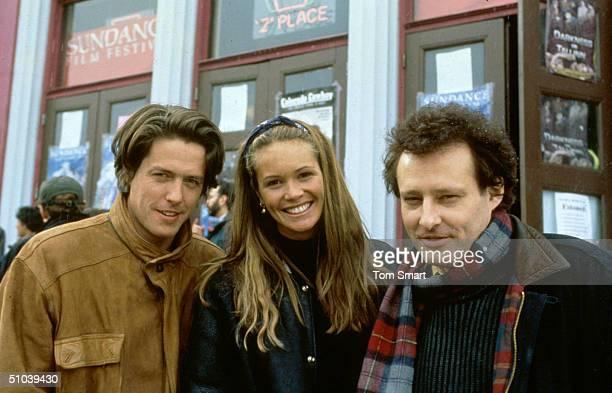Hugh Grant Elle MacPherson And John Dwingan At Sundance Film Festival Utah January 30 1994
