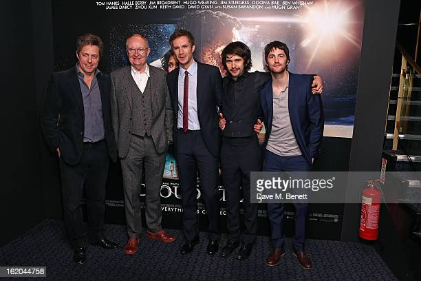 Hugh Grant Jim Broadbent James D'Arcy Ben Whishaw and Jim Sturgess attend a gala screening of 'Cloud Atlas' at The Curzon Mayfair on February 18 2013...