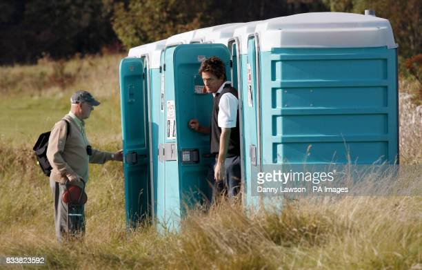 Hugh Grant leaves a toilet between the 5th and 6th hole during the Alfred Dunhill Links Championship at Kingsbarns Fife Scotland