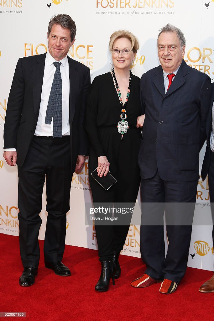 Hugh Grant Meryl Streep and Stephen Frears arrive for the UK film premiere of 'Florence Foster Jenkins' at Odeon Leicester Square on April 12 2016 in...