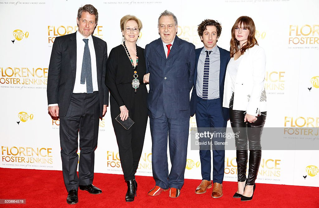Hugh Grant, Meryl Streep, director Stephen Frears, Simon Helberg and Rebecca Ferguson arrive for the UK film premiere Of 'Florence Foster Jenkins' at Odeon Leicester Square on April 12, 2016 in London, England.
