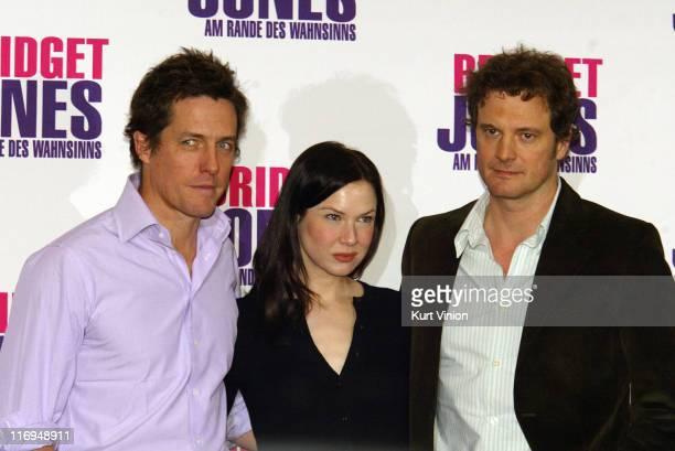 Hugh Grant Renee Zellweger and Colin Firth during 'Bridget Jones The Edge of Reason' Berlin Photocall at Hotel Adlon in Berlin Germany