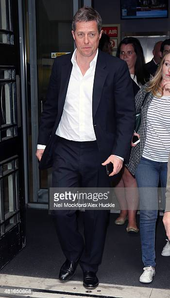 Hugh Grant seen at BBC Radio 2 on July 23 2015 in London England