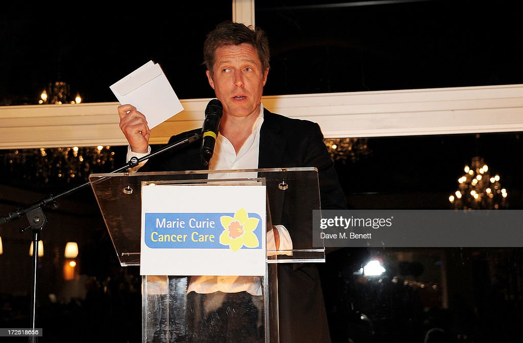 Hugh Grant speaks at The Masterpiece Midsummer Party in aid of Marie Curie Cancer Care, hosted by Heather Kerzner, at The Royal Hospital Chelsea on July 2, 2013 in London, England. Marie Curie Nurses provide free end of life care to patients with terminal illness in their own homes or in one of its nine hospices.
