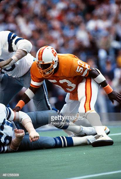 Hugh Green of the Tampa Bay Buccaneers in action against the Dallas Cowboys during the NFL/NFC Divisional Playoff game January 2 1982 at Texas...