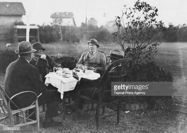 Hugh Grosvenor 2nd Duke of Westminster taking tea al fresco Biarritz France February 1922