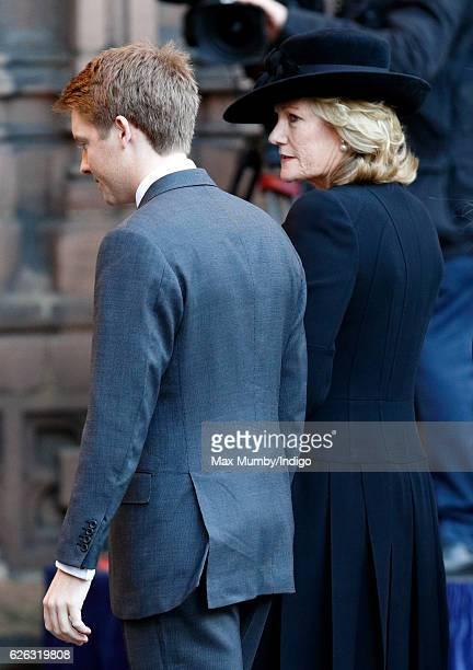 Hugh Grosvenor 7th Duke of Westminster and Natalia Grosvenor Duchess of Westminster attend a Memorial Service for Gerald Grosvenor 6th Duke of...
